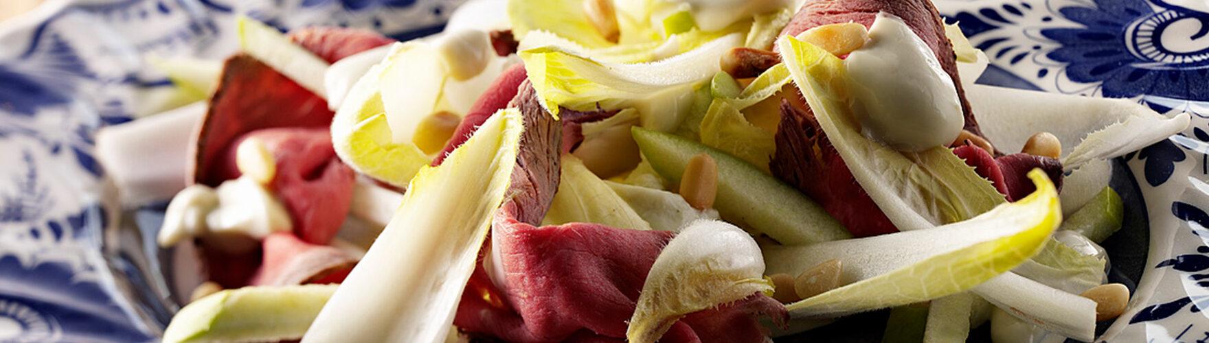 Salade aux endives, rosbif et ERU Crème au Bleu