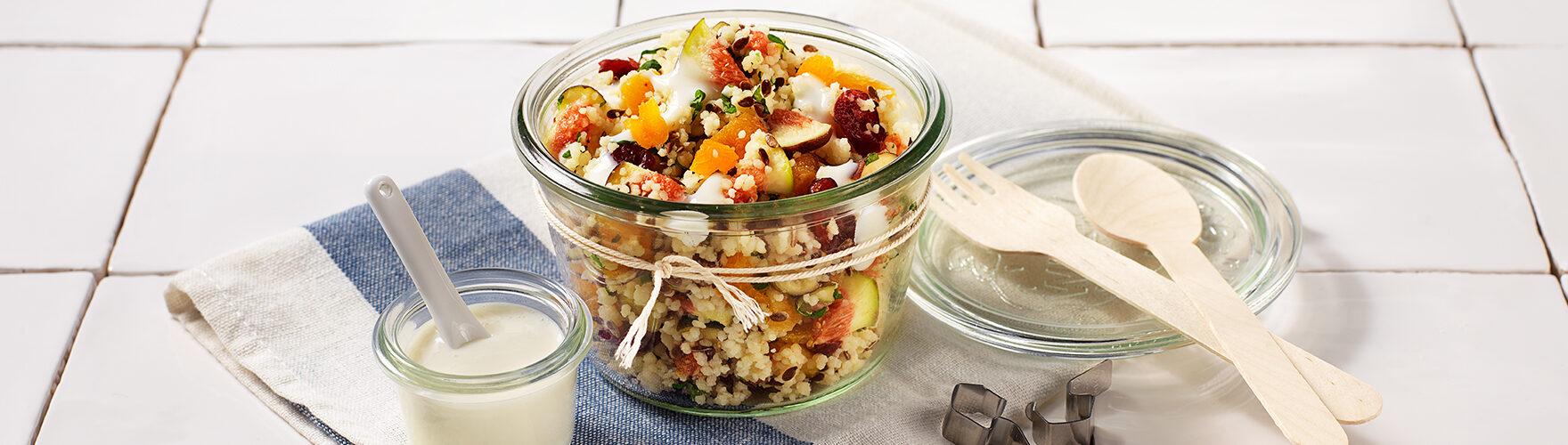 Frischer Couscous-Salat mit Aprikosen, Feigen und Minze