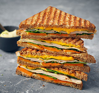 Toastie with cheddar, chicken breast, spinach, sweet potato and lime mayonnaise