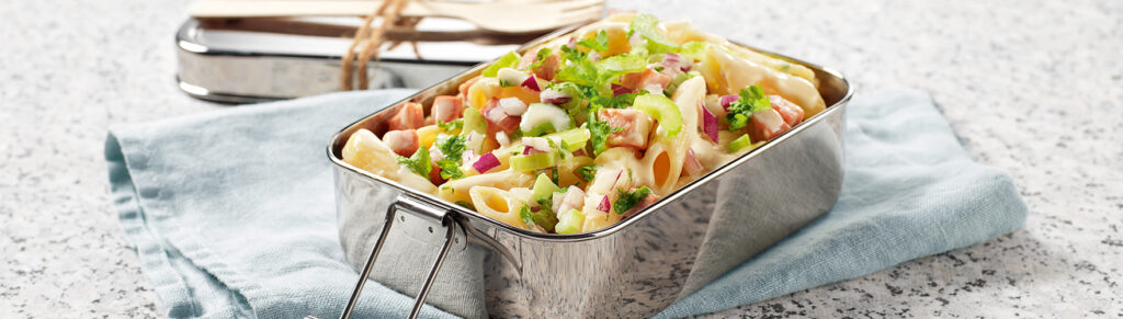 Pasta salad with onion and celery