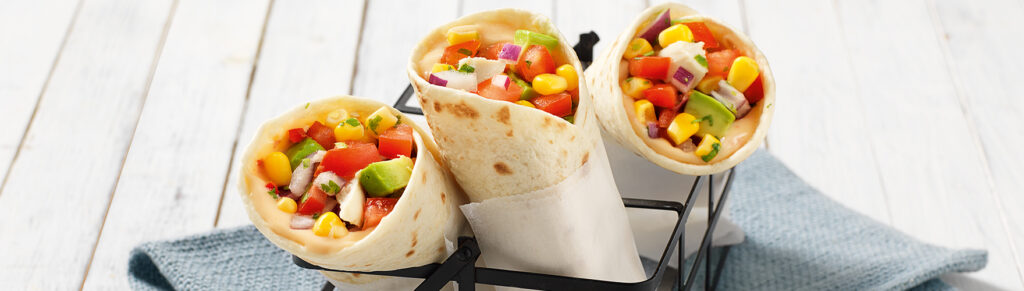 Wrap with chicken and corn salsa