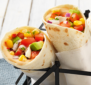 Wraps with smoked chicken, avocado and sweet corn salsa